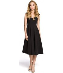 korte jurk moe m201 cocktail fit en flare mouwloze jurk - zwart