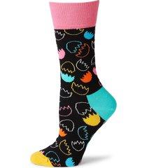 happy socks men's eggshell-print crew socks - black combo - size 9-11