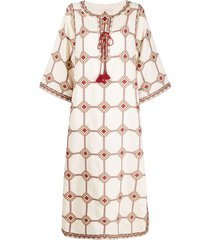 tory burch caftan dress embroidered with geometric print