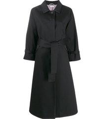thom browne unconstructed raglan mackintosh trench coat - black