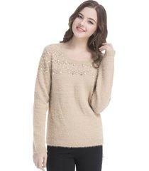 sweater peludo perlas khaki nicopoly