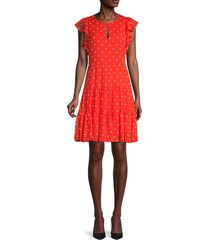 tommy hilfiger women's polka dot tiered dress - red ivory - size 6