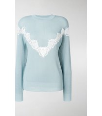 see by chloé lace trimmed sweater