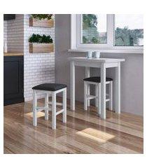 conjunto mesa dobrável + 4 banquetas estofadas móveis canção branco/preto