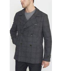 abrigo cruzado cuadros gris oscuro perry ellis