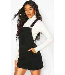 denim dungaree pinafore dress, black