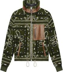 bandana print zip up fleece jacket