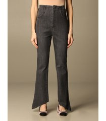 federica tosi jeans federica tosi high-waisted jeans with asymmetrical bottom