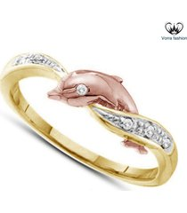 diamond round cut yellow gold plated 925 silver dolphin engagement wedding ring