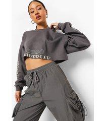 korte universal sweater met mouwopdruk, charcoal