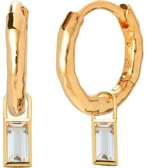 ziggy huggie earrings and rock crystal baguette ear charm set