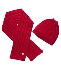 kit cachecol e touca de bebê tricot vermelho