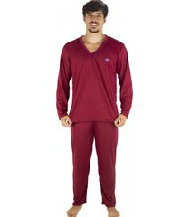 pijama mvb modas adulto blusa manga comprida e calça vinho