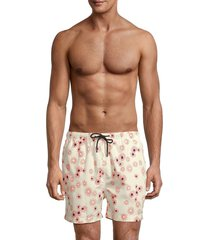 solid and striped men's the classic floral swim shorts - cream daisy - size m