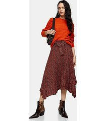 red leopard print belted pleat midi skirt - red