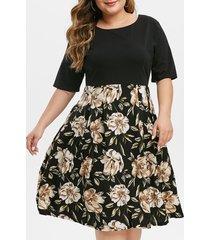 contrast floral back zipper short sleeve plus size dress