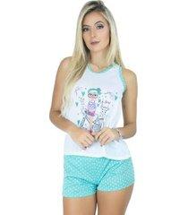 pijama mvb modas curto bolinha feminino