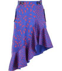 self-portrait printed asymmetric skirt