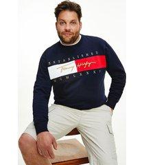 tommy hilfiger men's big and tall organic cotton logo sweatshirt navy - 2xlt