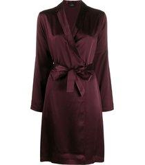 la perla belted silk robe - purple