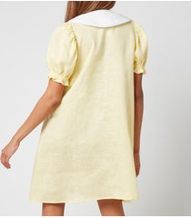 sleeper women's marie linen dress - lemon - l