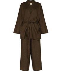 deiji studios kimono-style two-piece pajama set - green