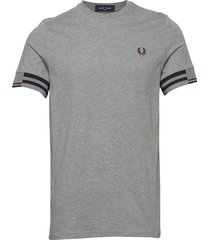 abstract cuff t-shirt t-shirts short-sleeved grå fred perry