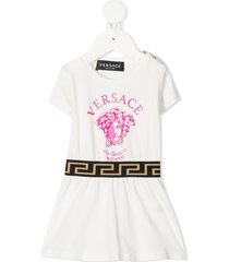 versace kids medusa head motif dress - white