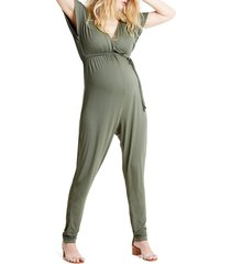 women's ingrid & isabel crossover maternity jumpsuit, size x-large - green