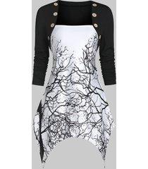 asymmetrical printed long sleeve tunic t shirt