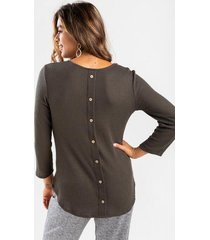 lana button back waffle knit top - dark olive