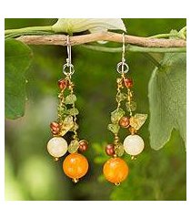 cultured pearl and peridot beaded earrings, 'citrus party' (thailand)