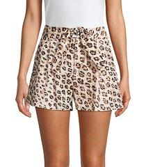 carden leopard linen tie-front shorts