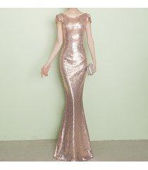 champagne gold short sleeve long sequin dress bridesmaid long maxi sequin dress
