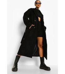 nepwollen trench coat met ceintuur en zoom detail, black