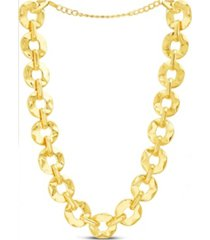 catherine malandrino hammered discs link necklace in yellow gold-tone alloy