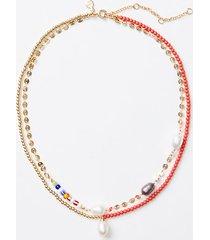 loft shell mixed media layered necklace
