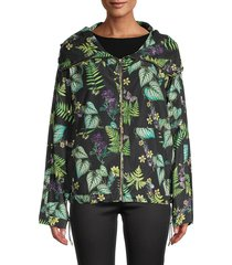 mackage women's full-zip hooded jacket - black print - size l
