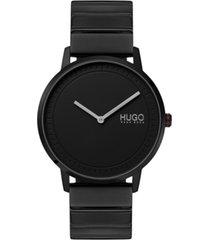 hugo men's #echo black stainless steel bracelet watch 40mm