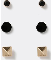 river island mens black and gold stud earrings 3 pack