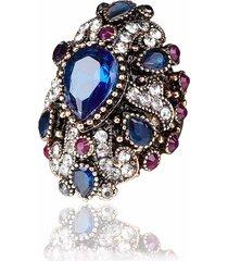 anello di barretta di lusso colorful goccia d'acqua di cristallo placcato oro geometrico anelli gioielli etnici per le donne