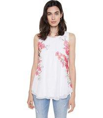 blusa blanco-rosa-verde desigual