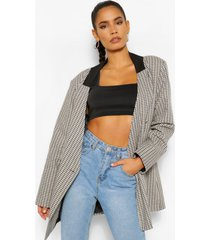 contrast collar flanneled oversized dad blazer, brown
