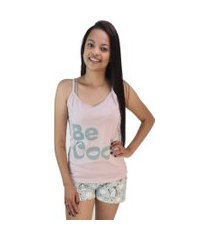 "pijama feminino ""be cool"" rosa pó shorts unicórnio"