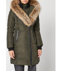 mackage women's kay long classic down coat - army - xs