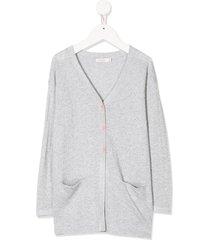 billieblush lurex-knit cardigan - silver