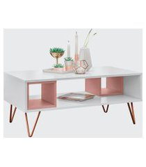 mesa centro retro metal dallas branco ac/rose ac olivar