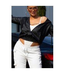 super trendy faux leder jas met ritssluiting zwart