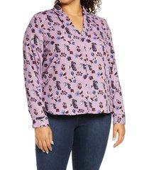 plus size women's halogen v-neck top, size 1x - purple