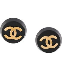 chanel pre-owned oversized cc earrings - black